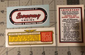 Sears Economy B&S Decal Set Pre Ww2 WM, I, N Red White Blue Set Of 3