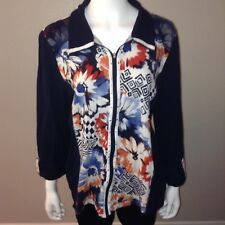 Alfred Dunner Track Jacket Size 16 Womens Zip Up Art To Wear Stretch Floral Blue