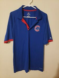 CHICAGO CUBS MAJESTIC COOL BASE SHORT SLEEVE BLUE POLO Mens Large
