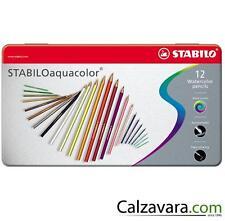 STABILO Pastelli AQUACOLOR da 12 Colori Acquarellabili - Scatola in Metallo