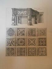 Planche gravure Moyen age Jacques Androuet du cerceau Cheminée du chateau Madril