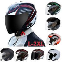 Motorcycle Half Open Face Full Shield Visor Safe Bluetooth Helmet Motocross DOT