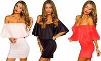 vestito donna mini abito corto scollatura barca balza 3 colori tg 40,42,44,46