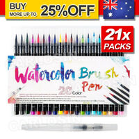 21x Watercolor Brush Pens Art Marker Drawing Painting Brush Artist Sketch AU