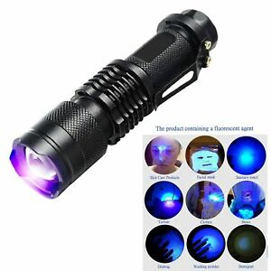 UV Ultra Violet LED Flashlight Blacklight Light 395/365 nM Inspection Lamp Torch