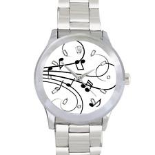 Reloj De Acero Inoxidable Reloj De Notas Musicales Piano Violín, sea cual sea su instrumento