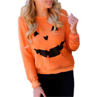 Women Long Sleeve Sweatshirt Halloween Pumpkin Print Pullover Tops Blouse Shirt