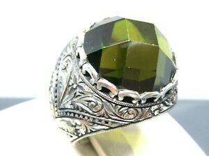 Turkish Handmade Jewelry 925 Sterling Silver Peridot Stone Men Ring Sz 11