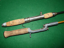 2 vintage crank handle bait casting rods Stag Brand & steel tele fishing LOOK