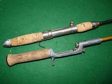 2 vintage crank handle bait casting rods Stag Brand & steel tele fishing LOOK