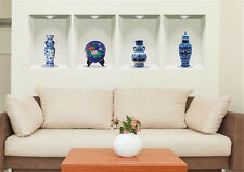 3D Vase Blue White Porcelain Home Room Removable Wall Stickers Decal Decoration