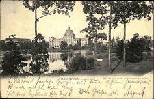1904 Bahnpoststempel Zug 10 auf AK Hannover Maschpark nach Bonn Ankunftsstempel