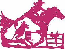 Cowgirl Barrel Racer Horse Saddle Rodeo Fence Window Laptop Vinyl Decal Sticker