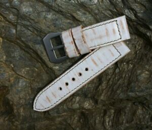 Handmade 26mm distressed white leather strap with GPF buckle fits Panerai watch