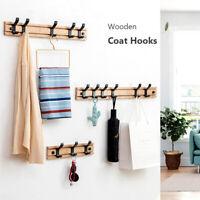 1Pc Wall Mounted Coat Hook Wooden Rack Clothes Robe Towel Hanger Hat Bag Hooks l