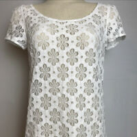 Lilly Pulitzer Poppy Top Shirt Floral Eyelet White Lace Pink Zipper Size: S