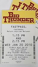 Disney FASTPASS Walt Disney World Fast Pass Ticket BIG THUNDER MOUNTAIN 1:15