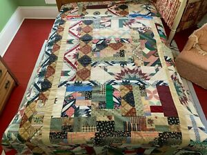 """Vintage 1980's This & That Handmade Machine Sewn Quilt Top 90""""x 100"""""""