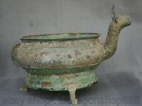 """13.2 """"Vieux Bronze Chinois Ware Dynastie Dragon Bête Zun récipient à boire"""