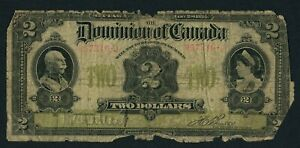 1914 $2 two dollar Dominion of Canada note