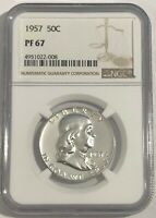 1957 NGC PF67 SILVER PROOF FRANKLIN HALF DOLLAR BRIGHT WHITE COIN 50C 90% SILVER
