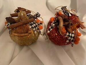 Mackenzie Childs  Set of 2 Beaded Thanksgiving Halloween Pumpkin  Ornaments