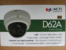 ACTi D62A Surveillance IP Camera 2MP Indoor Dome Vari-focal H.264 IK09 1080p PoE