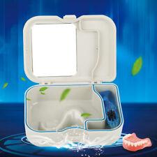 Denture Case Dental False Teeth Storage Box Container w/ Mirror and Clean Brush