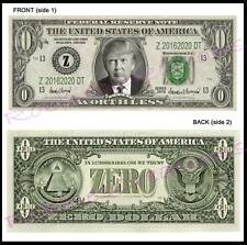 8-DONALD TRUMP U.S. PAPER MONEY ZERO For President-Dollar Bill Bookmark Novelty
