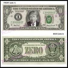 8-DONALD TRUMP U.S. PAPER MONEY ZERO For President-Dollar Bill Bookmark Novelty