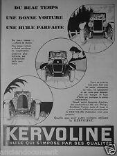 PUBLICITÉ 1929 KERVOLINE L'HUILE QUI S'IMPOSE PAR SES QUALITÉS - ADVERTISING