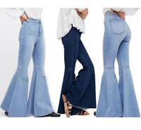 2019 Womens Flare Bell Bottom Denim Pants High Waist Slim Bootcut Jeans Trousers