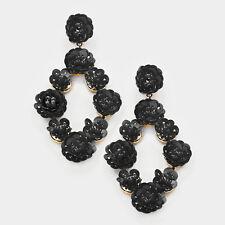 DESIGNER INSPIRED BLACK SEQUIN & SEED BEAD FLOWER STATEMENT EARRINGS