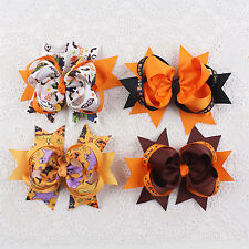 5inch 4pcs Handmade Halloween Baby Girl Hair Bows Fashion Accessories 018-43-50K