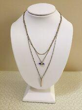 Baublebar Silver & Gold Tone Layered Three Strand Rhinestone Necklace