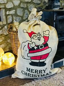 Extra Large Christmas Hessian Santa Sack Vintage Rustic Gift Bag 120x60cm Xmas