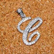 "925 Sterling Silver Lab Diamond Letter Initial ""C"" Pendant For Necklace"