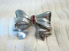 Tiffany & Co Vintage Large Sterling Silver 14K Yellow Gold RUBY Bow Brooch Pin