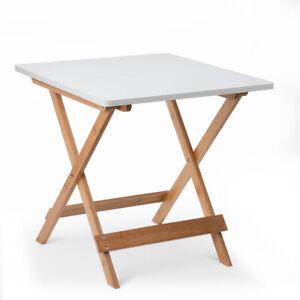 BeistelltischKlapptisch Gartentisch Kaffeetisch Klappbar Holz 50x50x50cm,Weiß