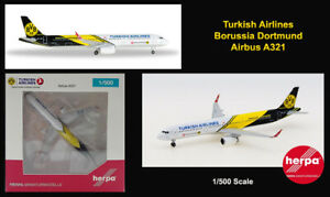 Turkish Airlines Borussia Dortmund Airbus A-321 Airplane Aircraft Herpa 1/500