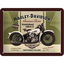 Harley Davidson Classic Knucklehead Motorcycle Bike Small 3D Metal Embossed Sign