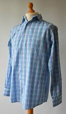 Men's Blue Checked Thomas Pink Shirt Size M, Medium.