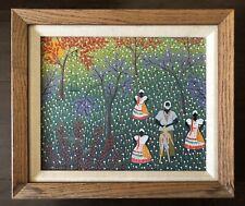 Vintage 1982 SIGNED Giovanni Brazil Brasil Folk Art Forest Figures Ceremony
