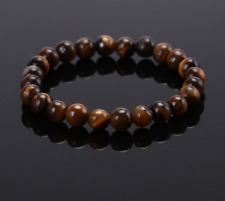 UK Tigers Eye Crystal Gemstone 8mm Bead Bracelet. Reiki Healing Balance Chakra