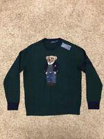 Polo Ralph Lauren Men Classic Fit 100% Wool Iconic Preppy Bear Sweater Green L