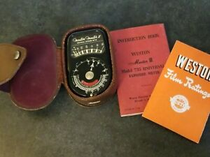 Weston Electric 735 Master II Universal Exposure Meter Leather Case & Box TESTED