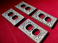 Victorian Fleur de Lis Eastlake Set of 4 Heavy Cast Iron Electrical Wall Plates