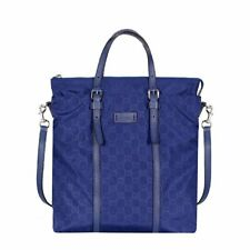 Gucci Zip Top Guccissima Navy Blue Detachable Strap GG Nylon Tote Handbag 510333