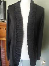 Madison Michelle Women's Gray Cardigan Ruffle Sweater Medium