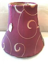 NEW Decorative Chandelier Lamp Red & Gold Embroidered Silk clip on lampshade 5""
